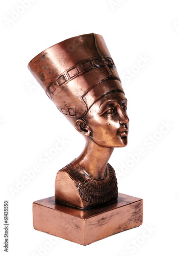 Statuette of Egyptian Queen Nefertiti on white background