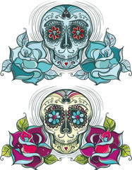 Vector sugar skull with roses. Colorful and unicolour