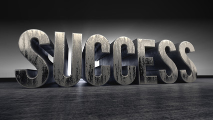 metallic typography of the word success