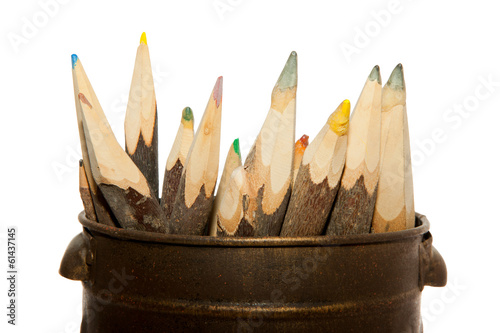 Unique sharp wooden Pencils isolated on white