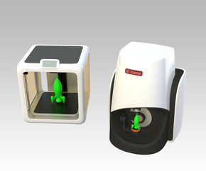 Compact 3D scanner and 3D printer