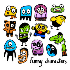 Set of funny colorful cartoon characters.