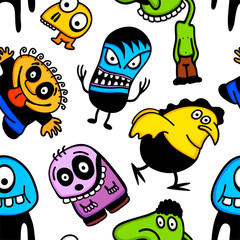 Funny cartoon monsters seamless pattern.