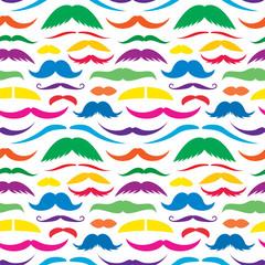 Colorful mustache seamless pattern.