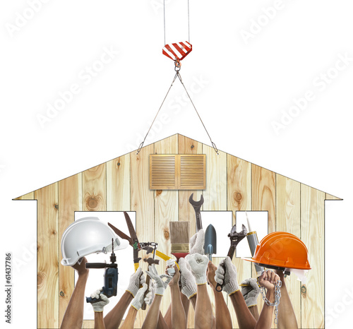 home and hand rising diy tool equipment against wood house use f