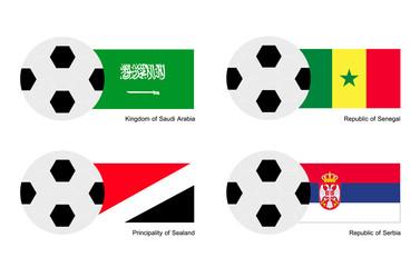 Soccer Ball with Saudi Arabia, Senegal, Sealand and Serbia Flag