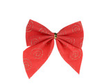 Festive red bow made of ribbon.
