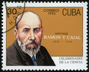 CUBA -1993: shows portrait of Santiago Ramon y Cajal (1852-1934)