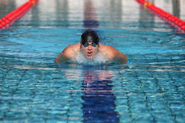 Professional swimmer in swimming pool taking breath