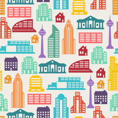 Cityscape seamless pattern with buildings.