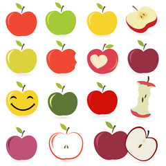Set of  colorful apple fruits vector illustration