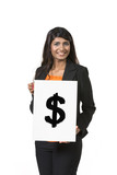 Indian Businesswoman holding card sign showing Dollar sign.