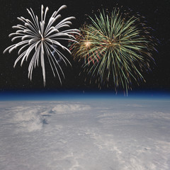 Fireworks above the clouds.