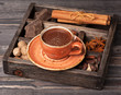 Hot chocolate and vintage wooden box with spices