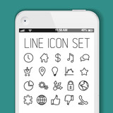 Simple Modern thin icon collection for smart phone applications