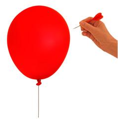 Balloon, bubble burst - metaphor, hand and dart on white backgro