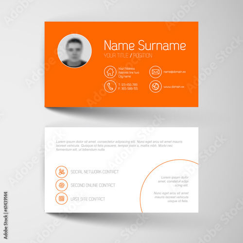 Modern orange business card template with flat user interface