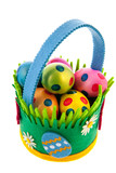 felting basket with easter eggs