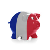 Piggy bank with flag coating over it - France
