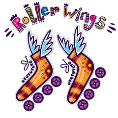 Roller skates with wings