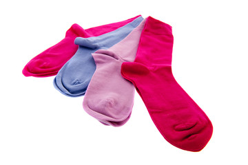 Several socks in blue and pink
