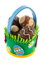 felting basket with chocolate easter eggs