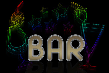 A sign for a bar with cocktails and neon stars