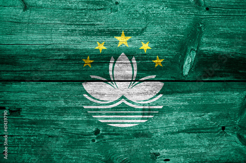 Macau Flag painted on old wood plank texture