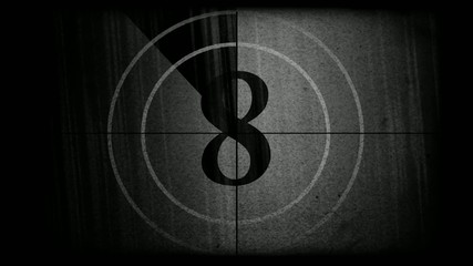 Black and white movie countdown.