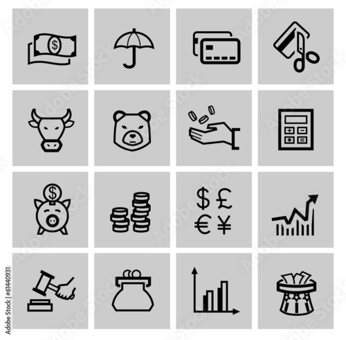 vector black business icons