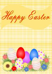 Karte mit Ostereier, Blumen und Text Happy Easter