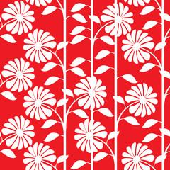 graphic white chrysanthemum seamless pattern