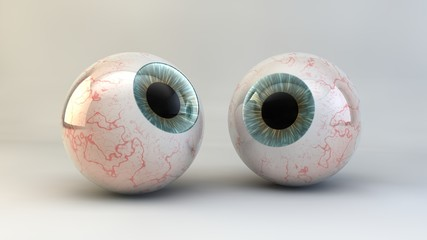 The concept of an eye on a white background. 3D illustration