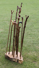 A Collection of Traditional Wooden Walking Sticks.