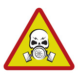 danger sign with gas mask