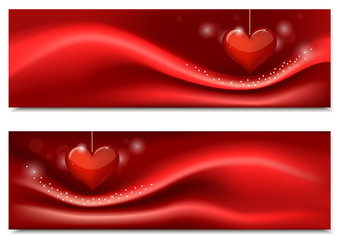 Banners for Valentine's Day with heart