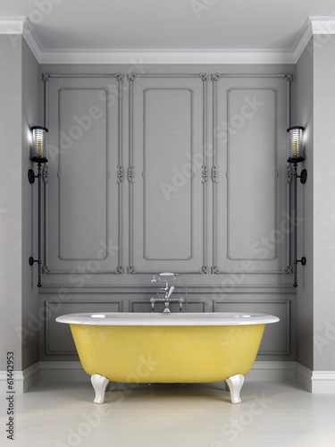 Bright yellow bath on a gray background