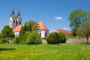 Niederalteich, Kloster, Basilika, Blumenwiese, Klostermauern