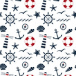 nautical seamless pattern white