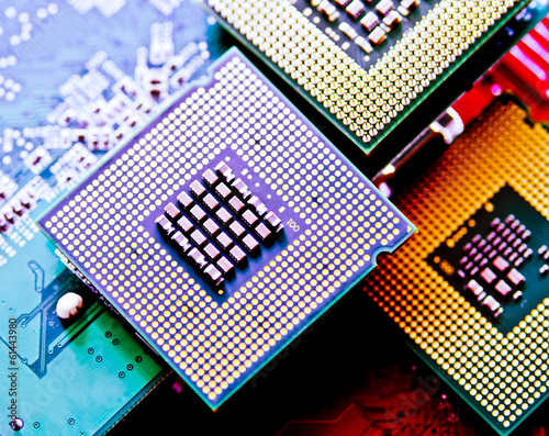 Leinwanddruck Bild computer cpu (central processor unit) chip