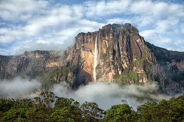 Close-up of Angel Falls in mornign light