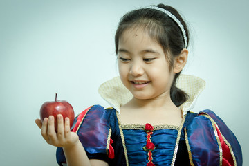 Fantasy vintage of the beautiful Snow White with an apple