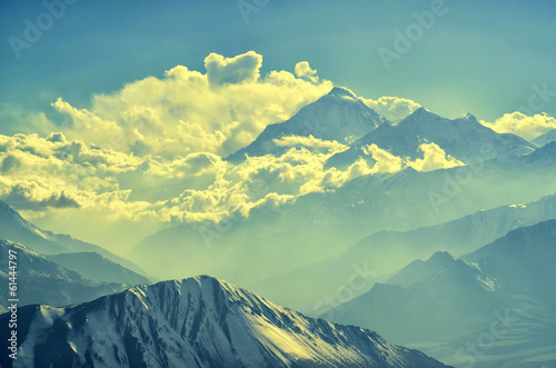 Mountains and clouds silhouettes