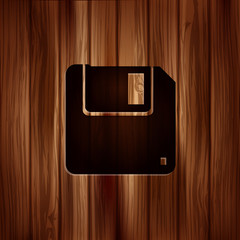Floppy disk icon. Wooden texture.