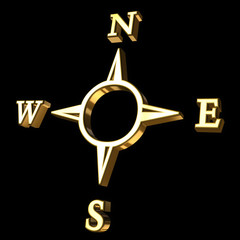Compass icon in gold against black