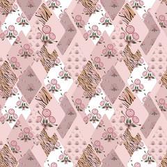 Patchwork pink seamless pattern texture
