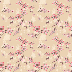 Seamless floral pattern with cherry blossom texture on beige