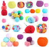 Collage of colorful knitting yarn isolated on white