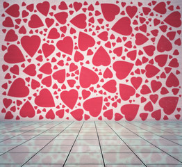 modern interior with hearts wallpaper, valentines day background