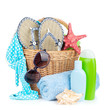 Beach items in basket